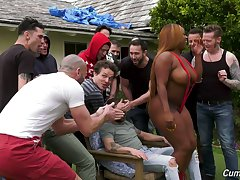 A guy's bachelor party leads to gangbang sex and the bitch is ergo curvy