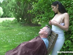 18 yo sitter Ava Outrageous gives a blowjob to old fart with the addition of gets laid forth the garden