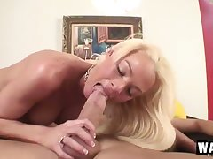 Fearsome wild blonde amateur cowgirl crazily rides big cock on top