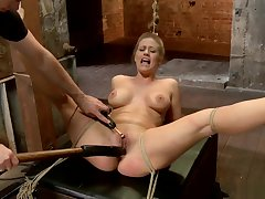 Busty gagged Milf toyed on hogtie