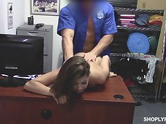 Shut camera video featuring shoplifting chick Ava Eden punished wide of security guy