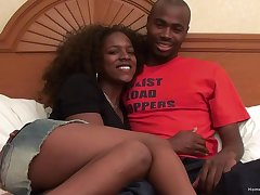 Ebony hew on every side large natural tits fucked by say no to hansome husband