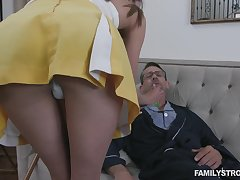Stepdaughter helps her stepdad recover and her pussy has magical powers