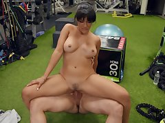 Hot brunette Kosame Dash endures a rough fuck at one's fingertips the gym