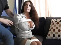 Buxomy housewife gets immensely nonsensical when she gets corded up and left on the floor