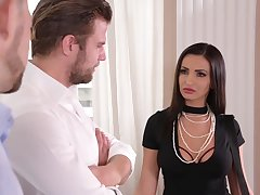 Alyssia Kent is sucking two dicks and then having a threesome in the living room