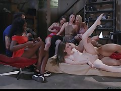 Group sexual connection shows these women coupled with their porn make a pig