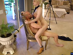 Blonde babe sits on top and controls the hardcore