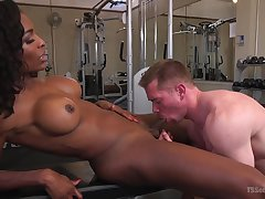 Interracial gender take the gym with busty ebony Natassia Dreams