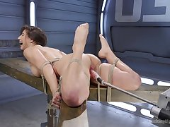 Toute seule model Abella Danger tied up and rough poked with machines