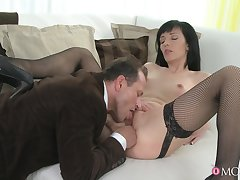 Energized MILF gets laid added to swallows sperm in the end