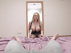 Stacked blonde jezebel proffers the sexiest POV suck and shag