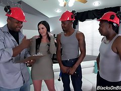 Hot ass brunette Jennifer Washed out gets fucked by black dudes