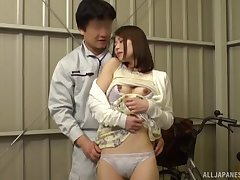 Erotic Japanese chick gets her pussy fingered and fucked by a stranger