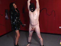 Foxy grown-up Jess Scotland helter-skelter latex drops on will not hear of knees to give nut