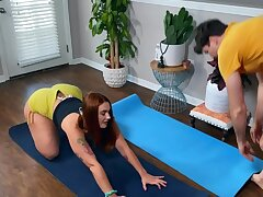 Curvy redhead instead of yoga copulates with instructor
