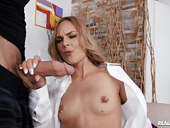 Small boobs cutie Jenny Jett in red stockings rides a wide-ranging dick