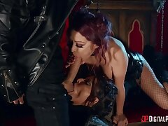 Two dirty whores in fishnets Madison Ivy and Monique Alexander share one big cock