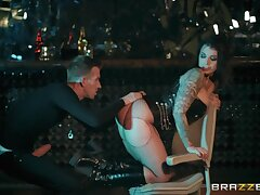 Party hard lady in black stuff and fishnet has picked up dude for wild sex