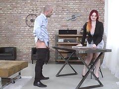 Tattooed redhead bombshell Zara Durose missionary fucked on the table