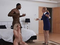 Black hunk fucks the make believe daughter in merciless modes