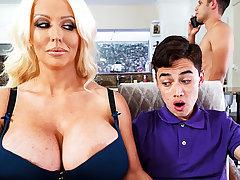 Gaffer stepmom interested to taste schoolboy's dick