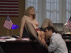 Mature blonde Nina Hartley connexion over the desk and fucked in stockings