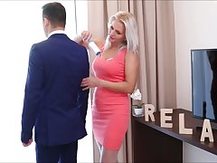 Concupiscent stepmom in white stockings Kathy Anderson seduces her stepson