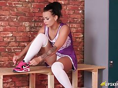 Just jerk a pretence while sudden skirt of natty cheerleader Kelli Smith is pulled up