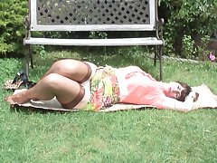 Horny mature brunette Toni Lace strips outdoors upon pantyhose