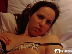 Rousing girlfriend teases with regard to some lingerie measurement masturba