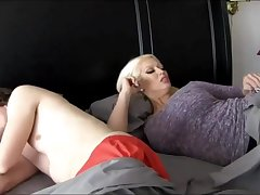 Super-Sexy ash-blonde chick with titanic breasts is plumbing her step- son-in-law because she loves his hard-on