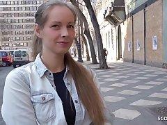 Bony German teenage with blondie hair, Kinuski enjoys helter-skelter get helter-skelter first of all her knees and inhale schlong