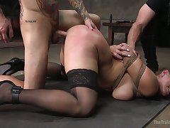 Fixed with ropes obedient curvy whore Skylar Snow is fucked doggy hard