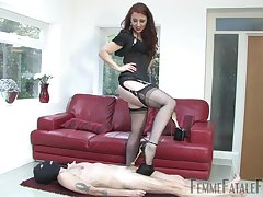 The presumptuous heels and black costume turns more than horny Mistress Lady Renee